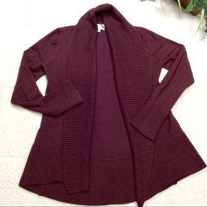 Joan Vass Ribbed Trim Open Long Sleeve Cardigan S